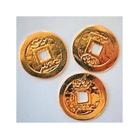 Drei I Ging Glücksmünzen, vergoldet