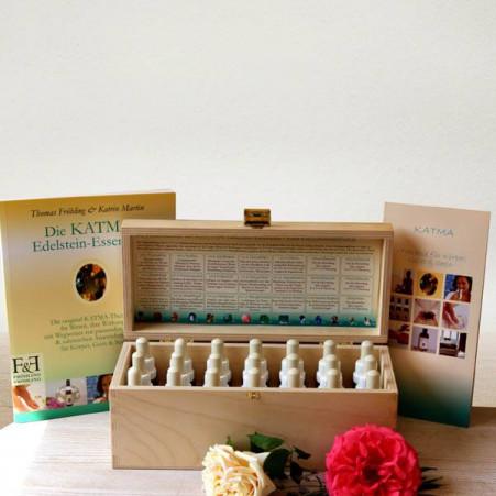 Set KATMA-Essenzen in edler Holzbox mit handsigniertem KATMA-Buch