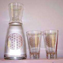 Set: Karaffe Blume des Lebens und 2 Gläser